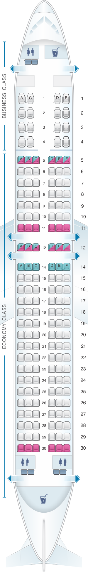 Seat map for Malaysia Airlines Boeing B737 800 166PAX