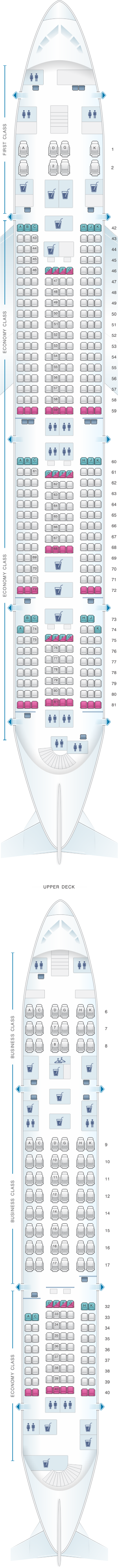 Seat map for Malaysia Airlines Airbus A380 800