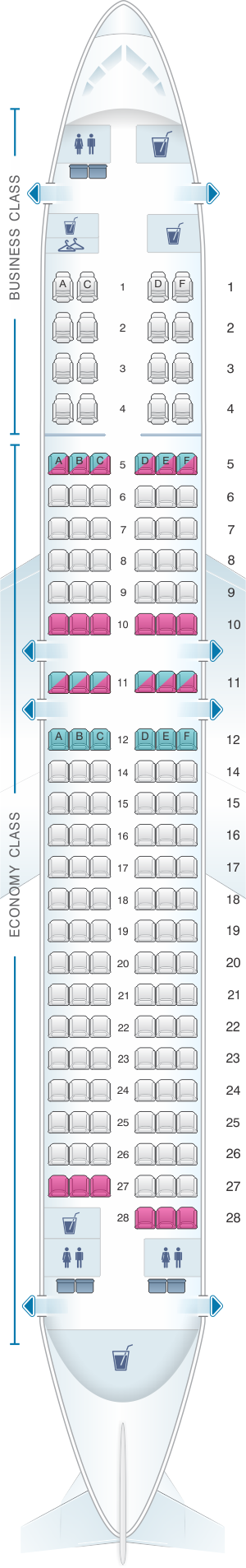 Seat map for Turkish Airlines Boeing B737 900ER