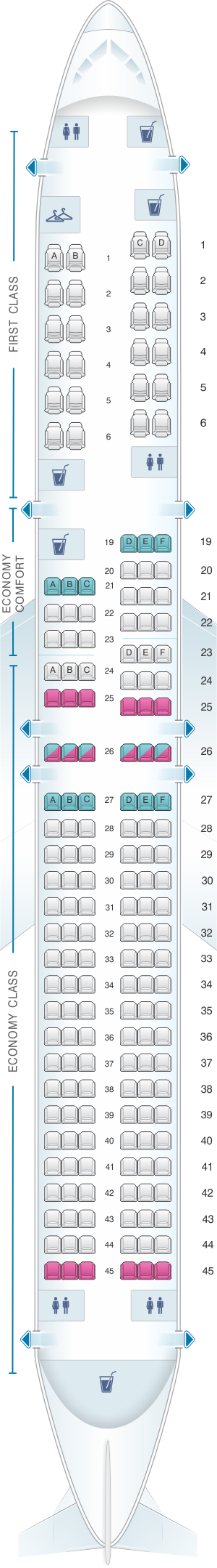 Seat map for Delta Air Lines Boeing B757 200 (757)
