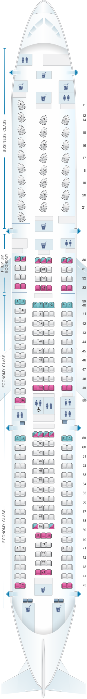 Seat map for Cathay Pacific Airways Airbus A340 300 (34J)