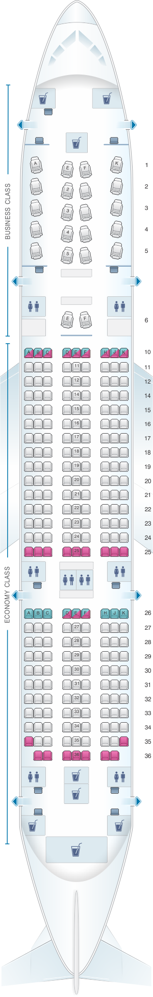 Seat map for Qatar Airways Boeing B787 Dreamliner 254pax