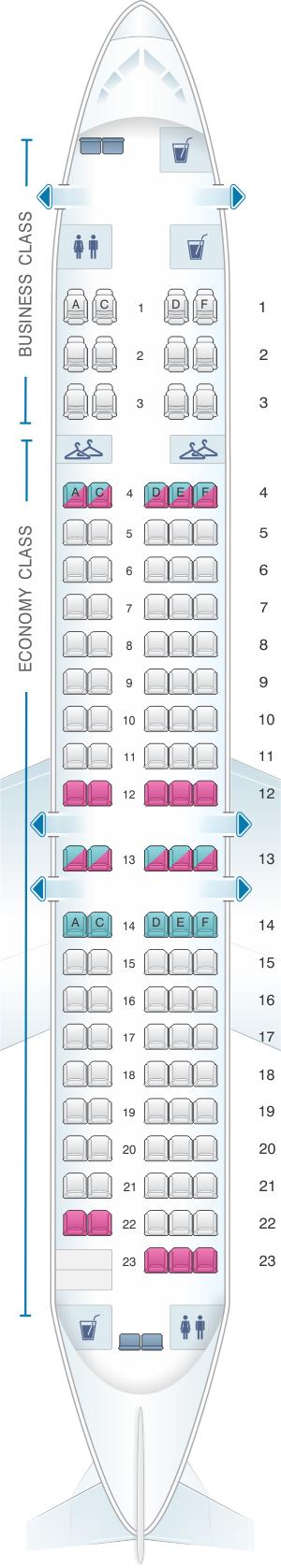 Seat map for Qantas Airways Boeing B717 200 110PAX