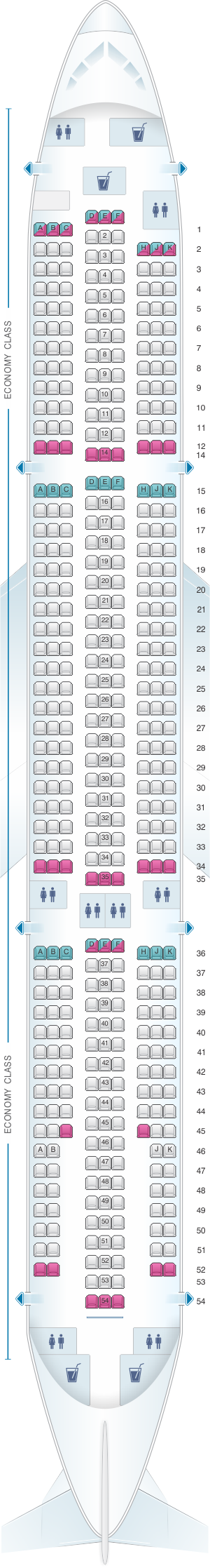 Seat map for Cebu Pacific Air Airbus A330