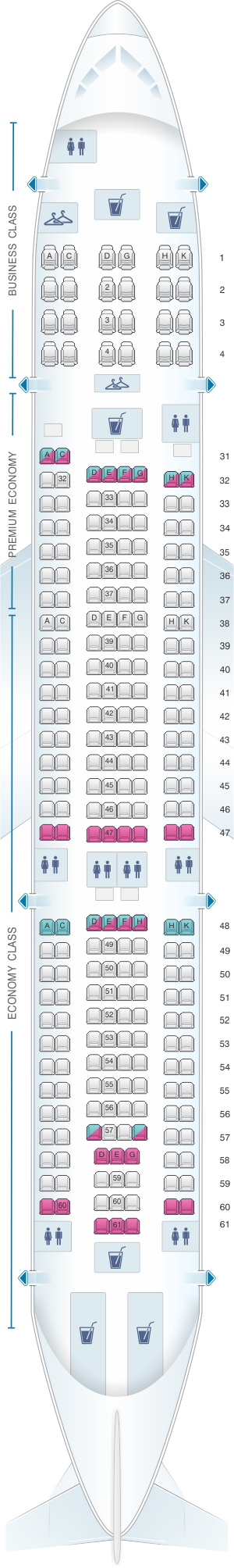 Seat map for China Southern Airlines Airbus A330-200 Layout A