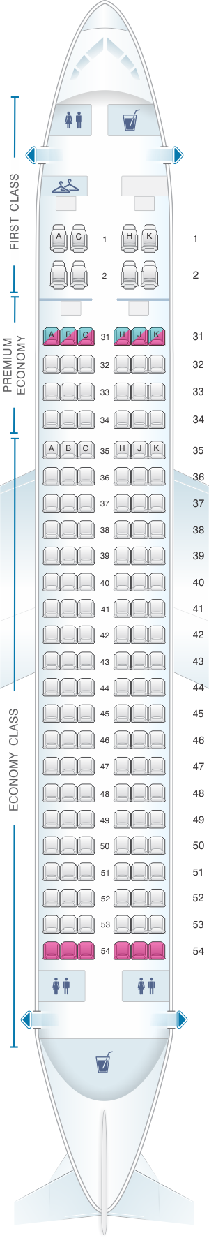 Seat map for China Southern Airlines Airbus A320