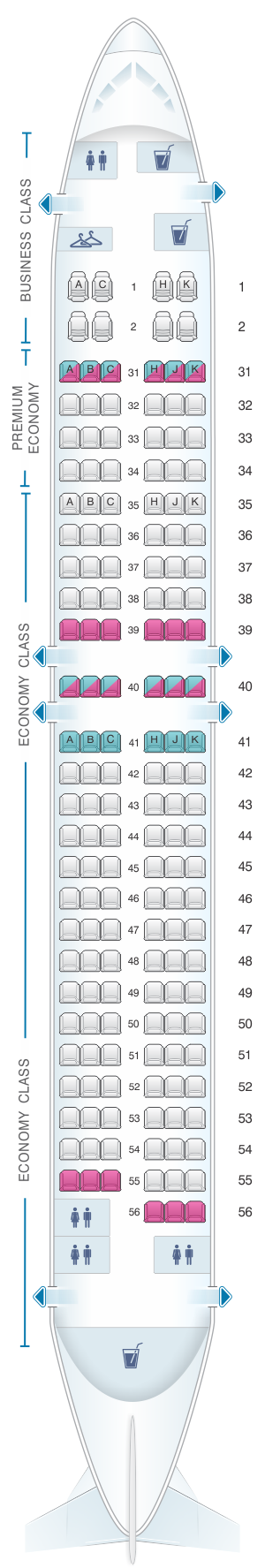 Seat map for China Southern Airlines Boeing B737 800 Layout B