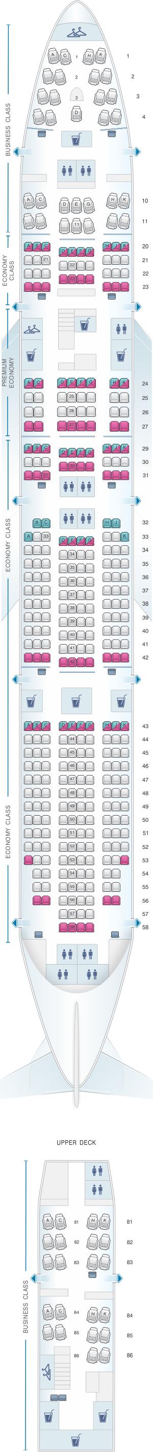 Plan de cabine lufthansa boeing b747 400 393pax for Plan de cabine boeing 747 400 corsair