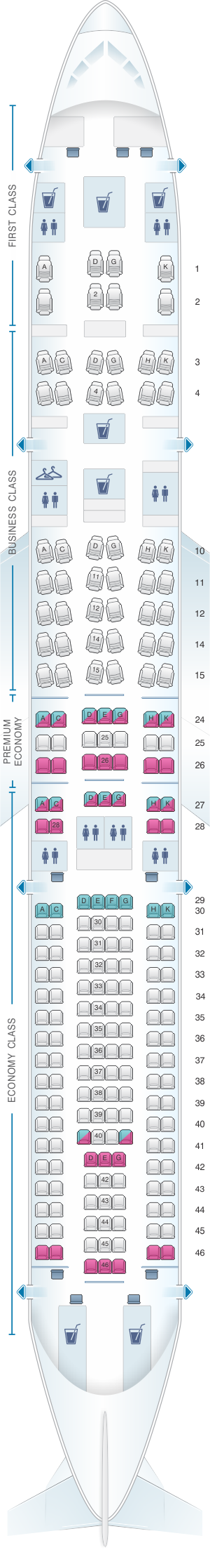Seat map for Lufthansa Airbus A330 300 216pax