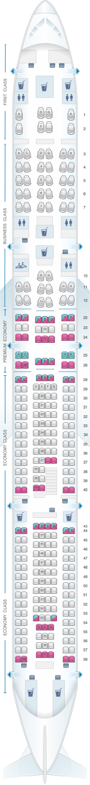 Seat map for Lufthansa Airbus A340 600 297pax