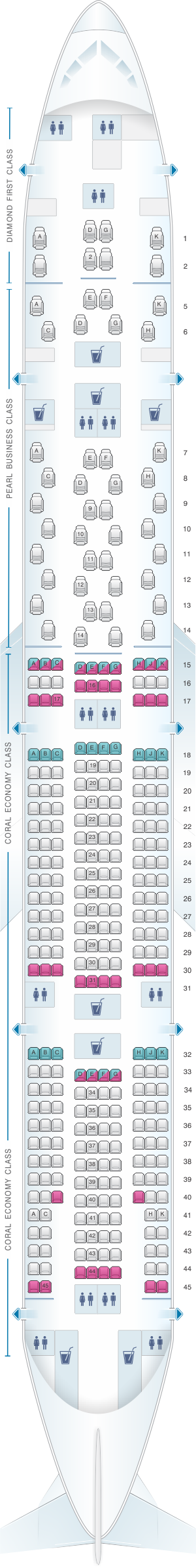 Seat map for Etihad Airways Boeing B777 300ER 3 class