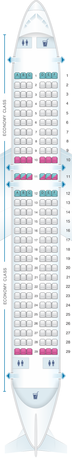 Seat map for Virgin Atlantic Airbus A320 200