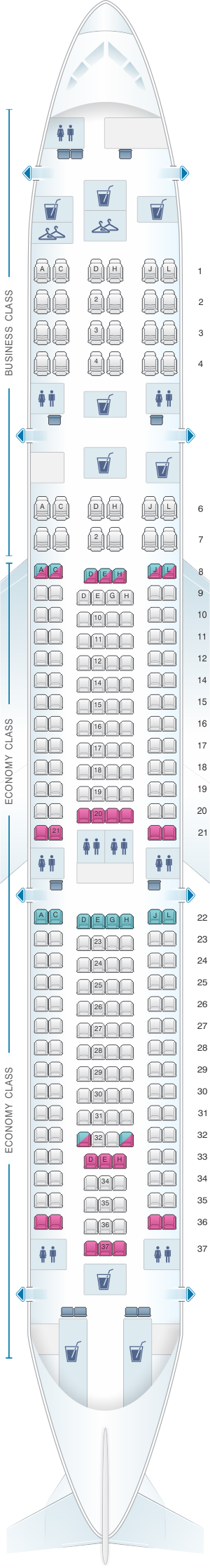 Seat map for Philippine Airlines Airbus A340 300 254pax