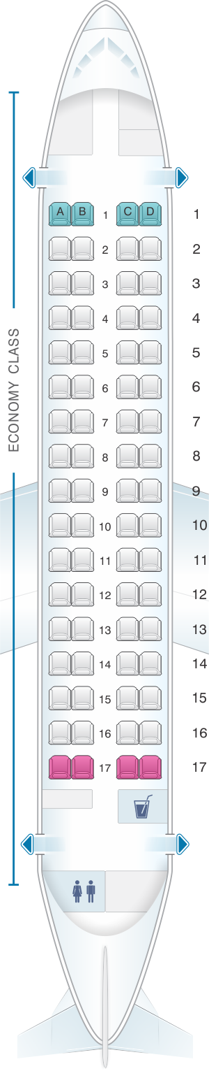 Seat map for TAROM ATR 72 500 68pax