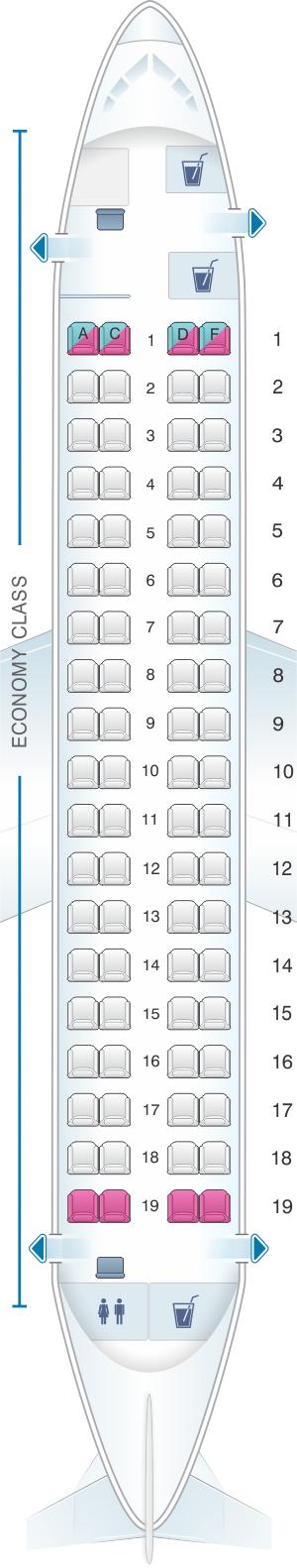 Seat map for Finnair Embraer EMB 170
