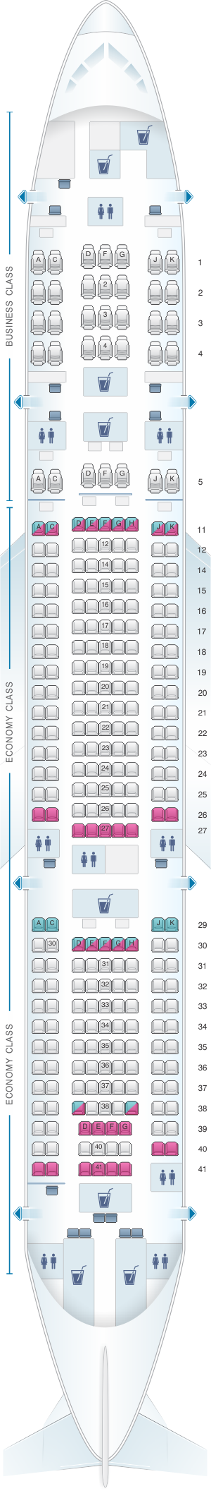 Seat map for Malaysia Airlines Boeing B777 200