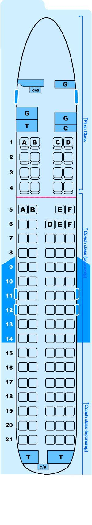 Seat map for Northwest Airlines McDonnell Douglas DC9-30
