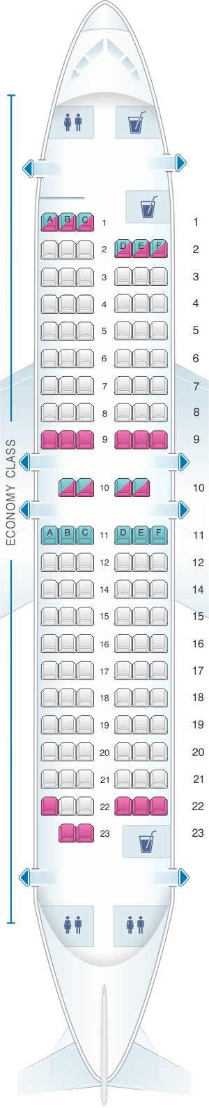 Seat map for Scandinavian Airlines (SAS) Boeing B737 600
