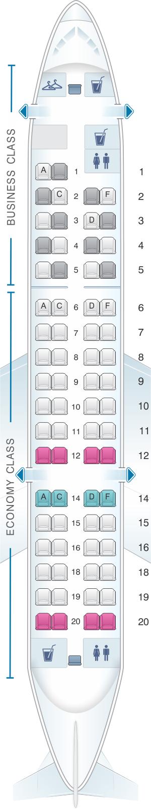 Seat map for Lufthansa Bombardier Canadair CRJ 700