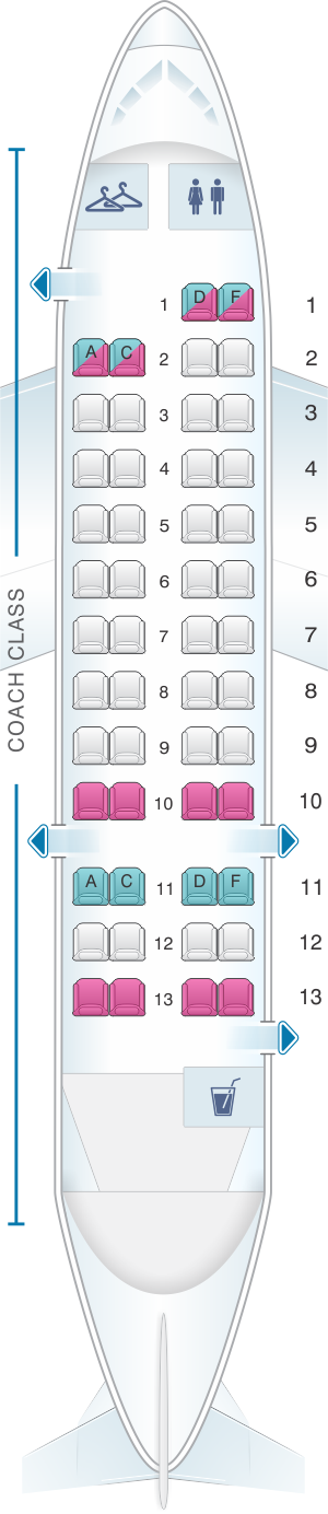 Seat map for US Airways Bombardier De Havilland Dash 8-300