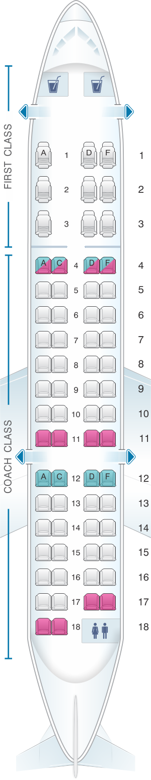 Seat map for US Airways Bombardier Canadair Regional Jet 700
