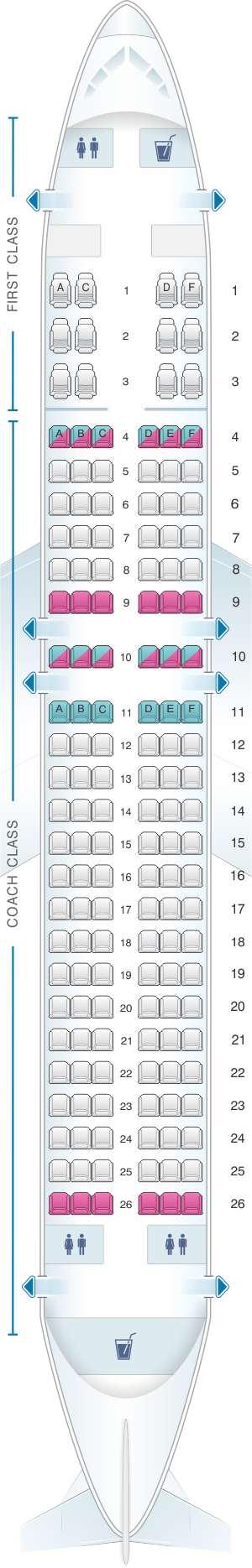 Seat map for US Airways Airbus A320