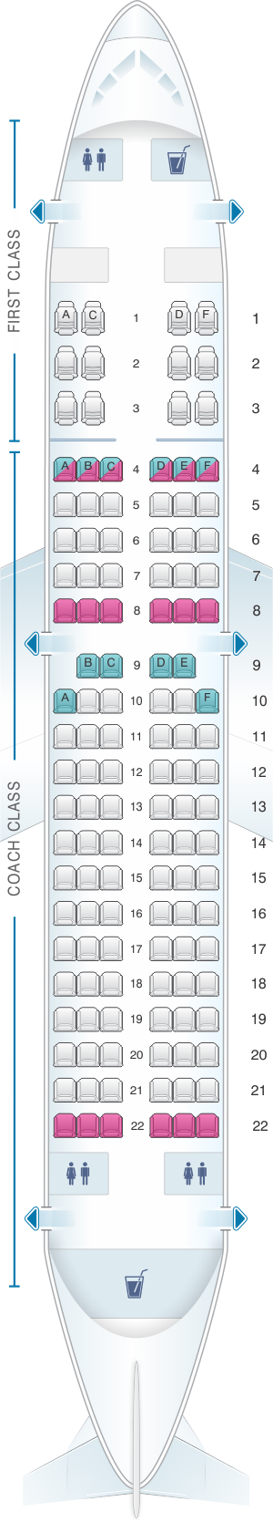 Seat map for US Airways Airbus A319
