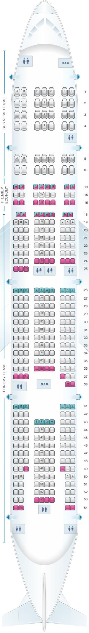 Plan de cabine air france boeing b777 300 long haul for Plan cabine 777 300er