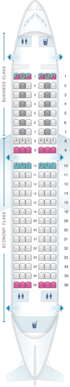 Seat map for SWISS Airbus A319 112