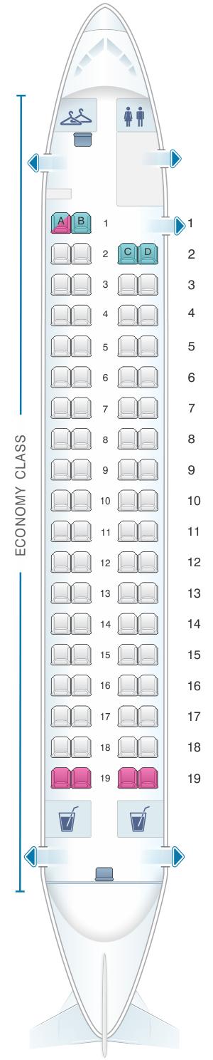 Seat map for Qantas Airways Bombardier Dash 8 Q400