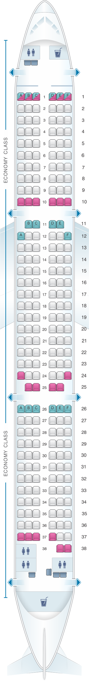 Seat map for Monarch Airlines Airbus A321 200