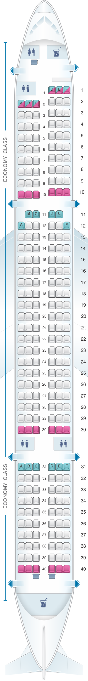 Seat map for Monarch Airlines Boeing B757 200