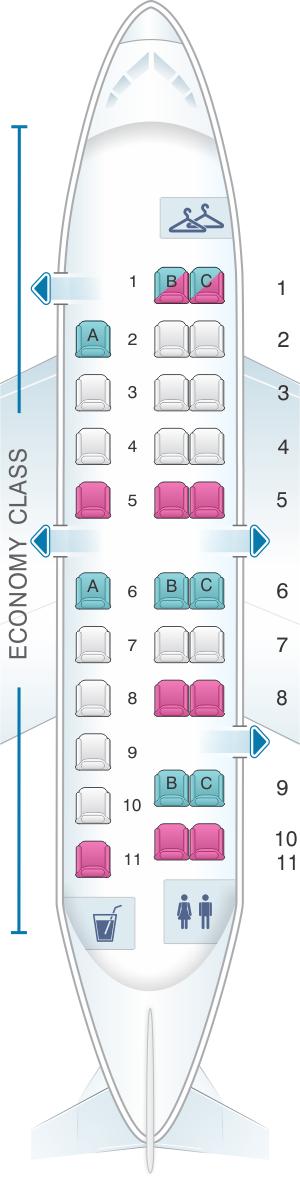Seat map for United Airlines Embraer EMB 120 (EM2) - version 1