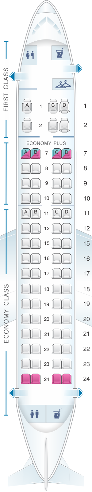 Plan De Cabine United Airlines Embraer Emb 170 E70