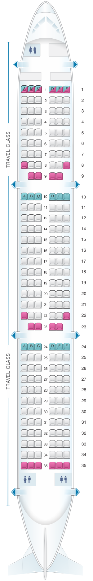 Seat map for Asiana Airlines Airbus A321 100