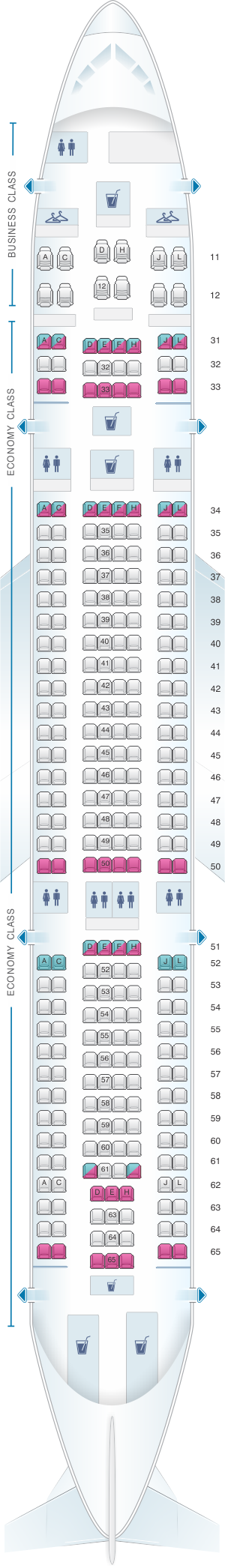 Seat map for Air China Airbus A330 200 (283PAX)