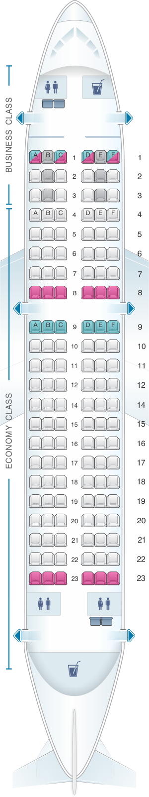 Seat map for Turkish Airlines Airbus A319 132