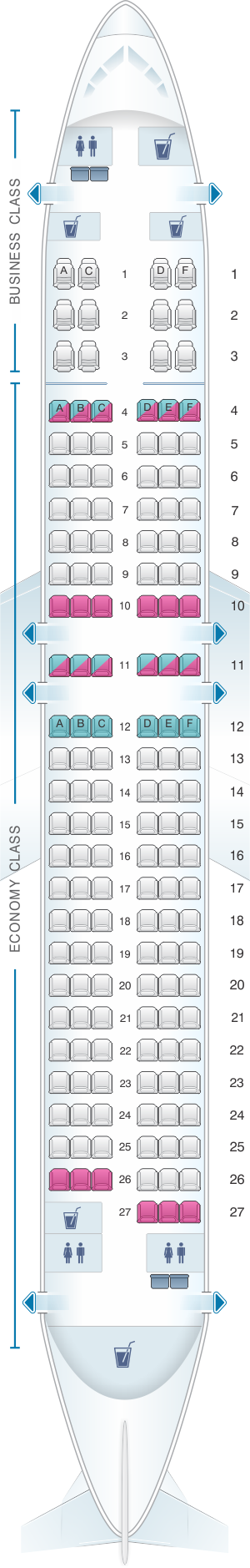 Seat map for Turkish Airlines Airbus A320 200