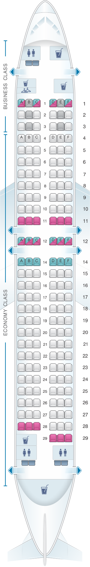 Seat map for Turkish Airlines Boeing B737 800