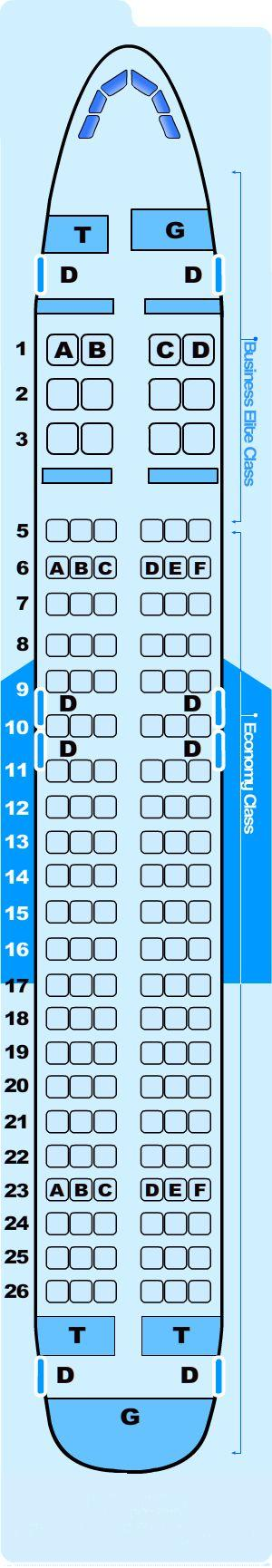Seat map for Northwest Airlines Airbus A320 200 International