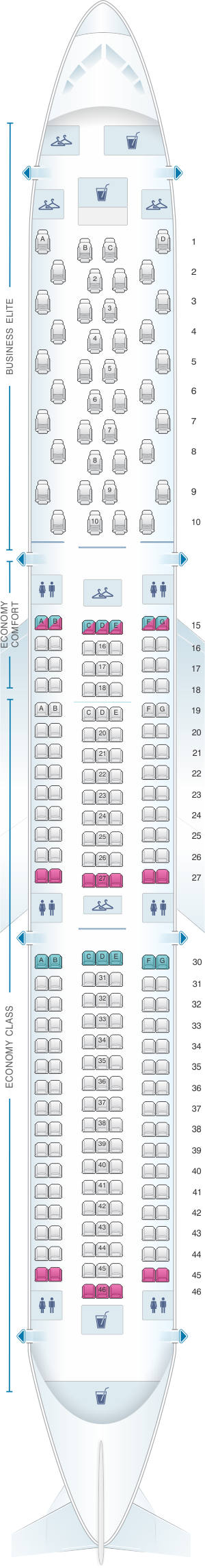 Seat map for Delta Air Lines Boeing B767 400ER (76D)
