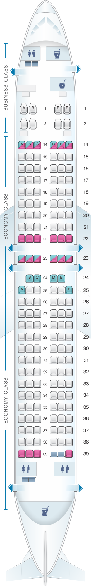 Seat map for Fiji Airways Boeing B737 800 164pax