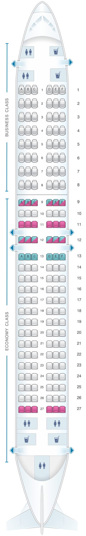 Seat map for Air Algerie Boeing B737-800 config 1