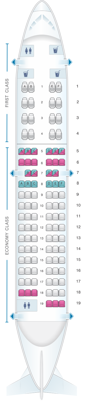 Seat map for Air Algerie Boeing B737-600