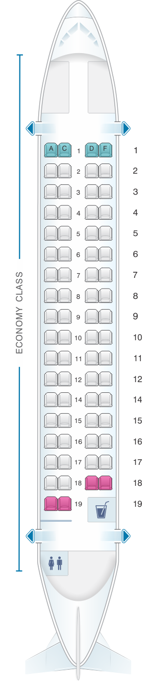 Seat map for Air Mauritius ATR 72-500