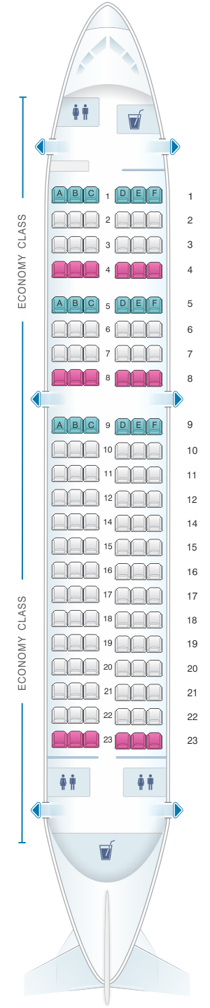 Seat map for Air Mauritius Airbus A319 100 all economy
