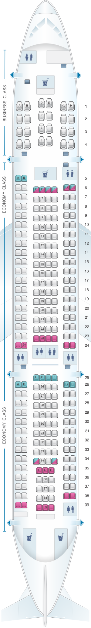 Seat map for Air Mauritius Airbus A330 200