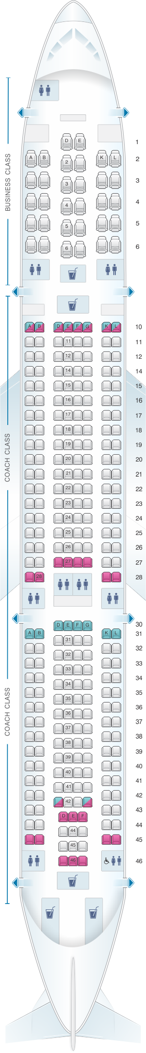 Seat map for Air Tahiti Nui Airbus A340 300