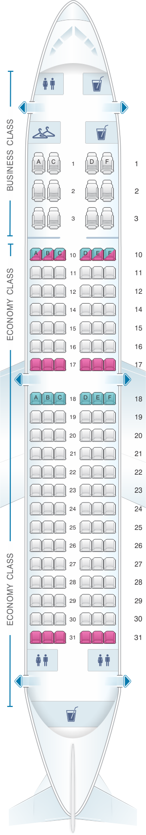 Seat map for Airtran Airways Boeing B737 700