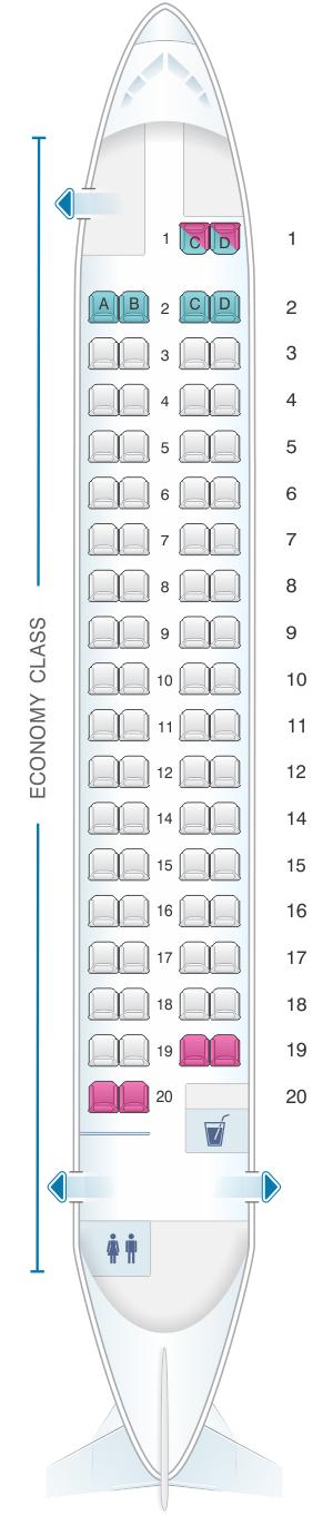 Seat map for Cebu Pacific Air ATR 72 500